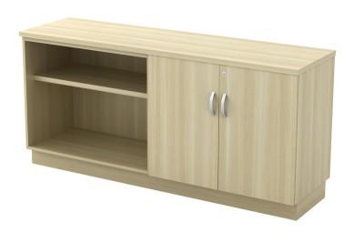 Open Shelf + Swinging Door Low Cabinet