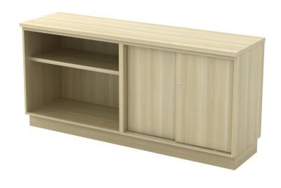 Open Shelf + Sliding Door Low Cabinet