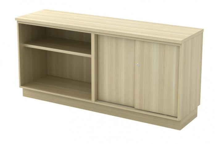 Open Shelf + Sliding Door Low Cabinet