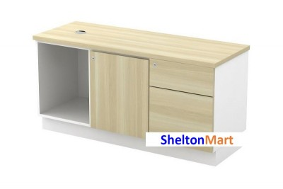 Open Shelf + Swinging Door (R) + Fixed Pedestal 1D1F