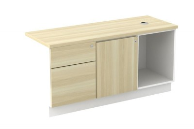 Open Shelf + Swinging Door (L) + Fixed Pedestal 1D1F