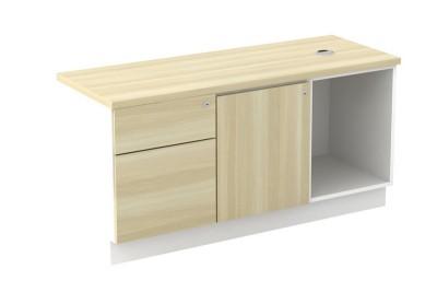 Open Shelf + Swinging Door (L) + Fixed Pedestal 1D1F