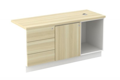 Open Shelf + Swinging Door (L) + Fixed Pedestal 3D