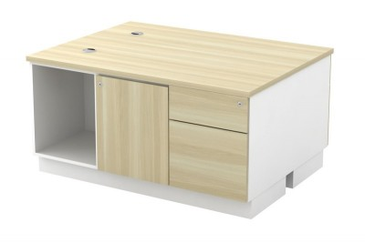 Open Shelf + Swinging Door + Fixed Pedestal 1D1F