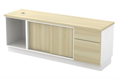Open Shelf + Sliding Door + Fixed Pedestal 1D1F