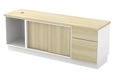 Open Shelf + Sliding Door + Fixed Pedestal 1D1F
