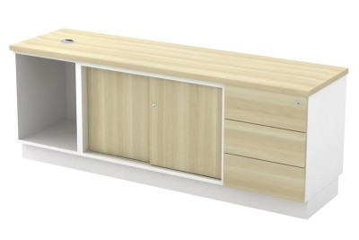 Open Shelf + Sliding Door + Fixed Pedestal 3D