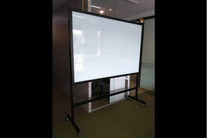 Movable Glass Board c/w P.Coat Metal Roller Rack - Non Magnetic