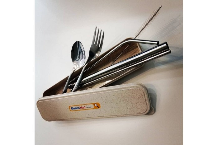 Stainless Steel Drinking Straw & Fork & Spoon  Box Set With Cleaning Brush