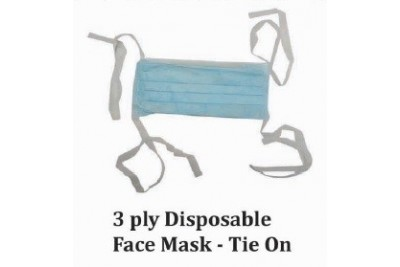 3 Ply Disposable Face Mask - Tie On