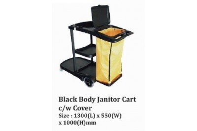 Black Body Janitor Cart c/w Cover