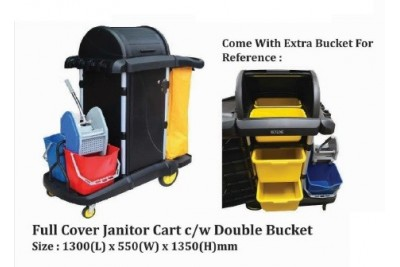 Full Cover Janitor Cart c/w Double Bucket