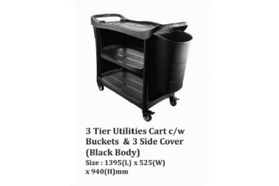 3 Tier utilities Cart c/w Buckets & 3 Side Cover (Black Body)