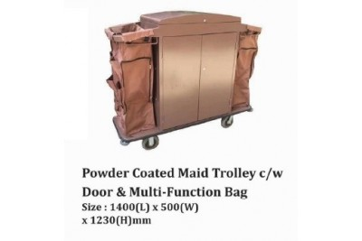 Powder Coated Maid Trolley c/w Door & Multi-Function Bag