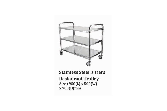 Stainless Steel 3 Tiers Restaurant Trolley