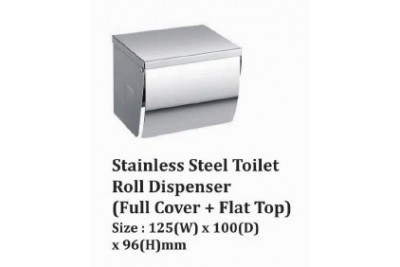 Stainless Steel Toilet Roll Dispenser (Full Cover + Flat Top)
