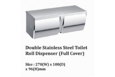 Double Stainless Steel Toilet Roll Dispenser (Full Cover)