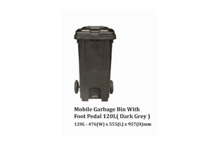 Mobile Garbage Bin With Foot Pedal 120L (Dark Grey)