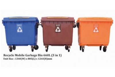 Recycle Mobile Garbage Bin 660L (3 in 1)
