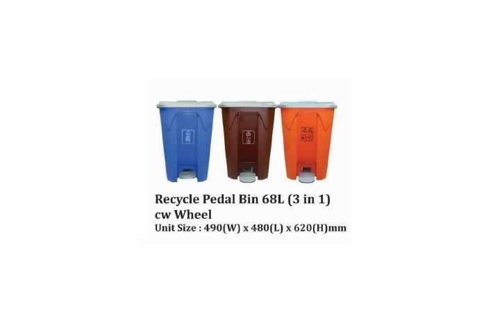 Recycle Pedal Bin 68L (3 in 1) cw Wheel
