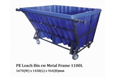 PE Leach Bin cw Metal Frame 1100L