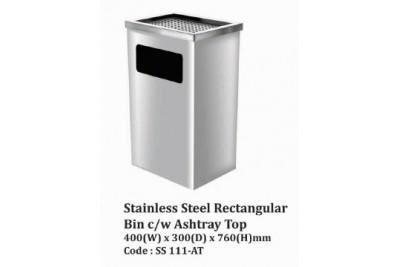 Stainless Steel Rectangular Bin c/w Ashtray Top
