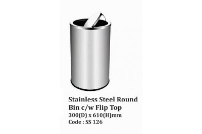 Stainless Steel Round Bin c/w Flip Top