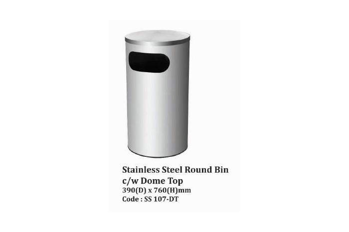 Stainless Steel Round Bin c/w Dome Top