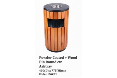 Powder Coated + Wood Bin Round cw Ashtray