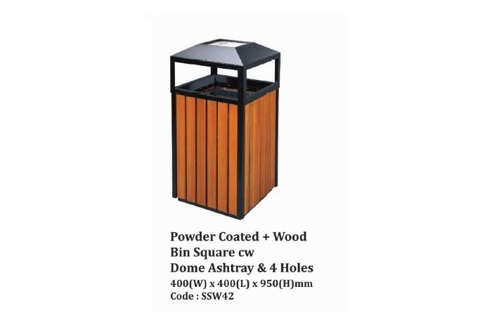 Powder Coated + Wood Bin Square cw Dome Ashtray & 4 Holes