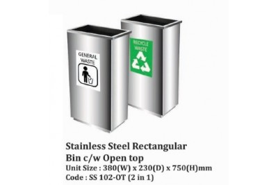 Stainless Steel Square Bin c/w Open Top