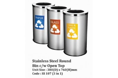 Stainless Steel Round Bin c/w Open Top