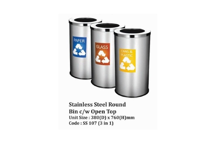 Stainless Steel Round Bin c/w Open Top