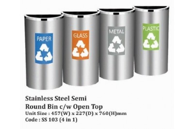 Stainless Steel Semi Round Bin c/w Open Top