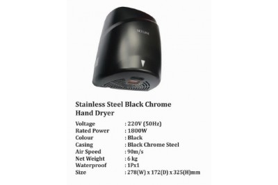 Stainless Steel Black Chrome Hand Dryer