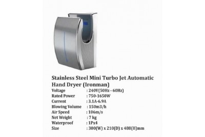 Stainless Steel Mini Turbo Jet Automatic Hand Dryer (Ironman)