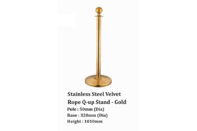 Stainless Steel Velvet Rope Q-up Stand -Gold