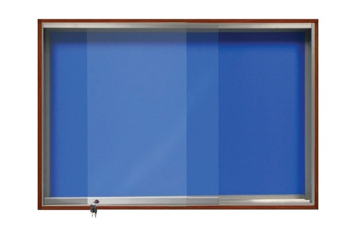 Wooden Frame Notice Board With Sliding Glass Cabinet