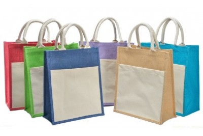 JR238 – Colourful Jute Bag with Canvas Pocket