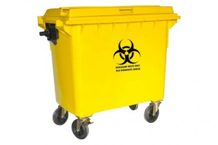 Biohazard Mobile Garbage Bin 4-Wheel (660liters)