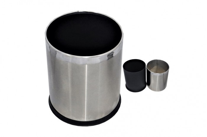 Room Bin Round Double Layer - Stainless Steel Outer