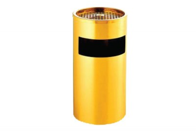 Stainless Steel Bin Round c/w Ashtray Top (Gold-Electroplated)