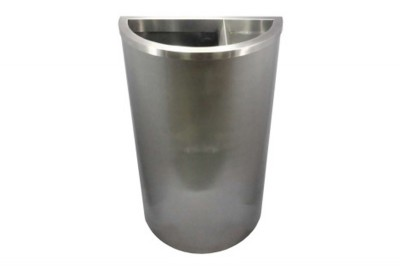 Stainless Steel Bin Semi Round c/w 2/3 Open Top 1/3 Ashtray Top