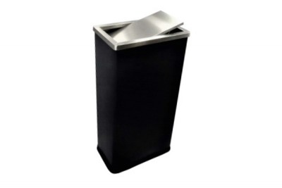 Stainless Steel Bin Rectangular c/w Flip Top (Black-Wrapped)