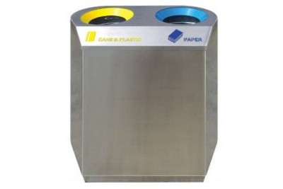 Stainless Steel Recycle Bin Flat 2 in 1