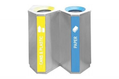 Stainless Steel Recycle Bin Triangle 2 in 1