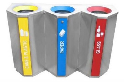 Stainless Steel Recycle Bin Triangle 3 in 1