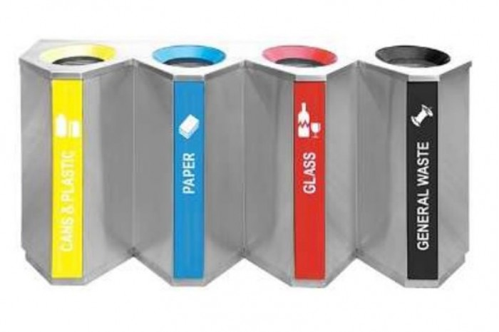 Stainless Steel Recycle Bin Triangle 4 in 1