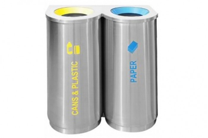 Stainless Steel Recycle Bin Round 2 in 1