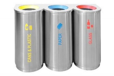 Stainless Steel Recycle Bin Round 3 in 1